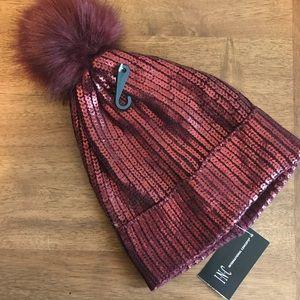 NEW INC Metallic Wine Red Pom Pom Hat